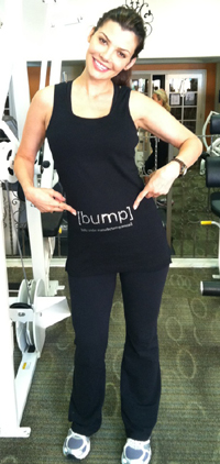 Ali Landry with [bump] shirt at gym